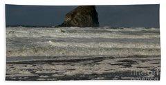 Close Haystack Rock Hand Towel by Susan Garren