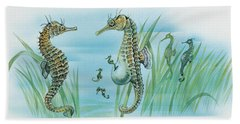 Close-up Of A Male Sea Horse Expelling Young Sea Horses Hand Towel by English School