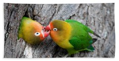 Close-up Of A Pair Of Lovebirds, Ndutu Hand Towel by Panoramic Images