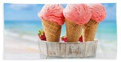 Close Up Strawberry Ice Creams Hand Towel