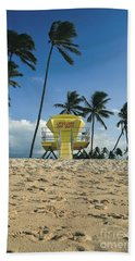 Closed Lifeguard Shack On A Deserted Tropical Beach With Palm Tr Hand Towel