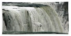 Closeup Of Icy Niagara Falls Bath Towel
