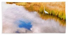 Cloud Reflection In Water Digital Art Hand Towel