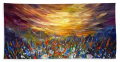 Bath Towel featuring the painting Cloudy Sunset In Valley by Lilia D