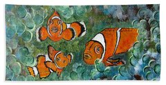 Clown Fish Art Original Tropical Painting Hand Towel
