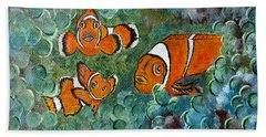 Clown Fish Art Original Tropical Painting Bath Towel