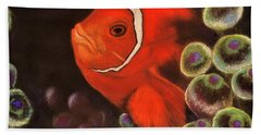Clown Fish In Hiding  Pastel Hand Towel