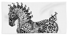 Bath Towel featuring the drawing Clydesdale Foal - Zentangle by Jani Freimann