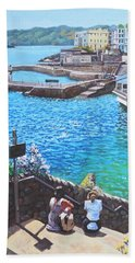 Hand Towel featuring the painting Coast Of Plymouth City Uk by Martin Davey