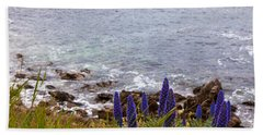 Coastal Cliff Flowers Bath Towel