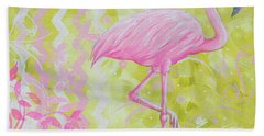 Coastal Decorative Pink Green Floral Chevron Pattern Art Flamingo Dance By Madart Hand Towel