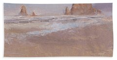 Coastal Escape  Cannon Beach Oregon And Haystack Rock  Hand Towel