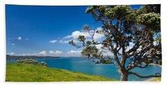 Coastal Farmland Landscape With Pohutukawa Tree Hand Towel