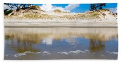 Coastal Sand Dune Reflections On Beach At Low Tide Hand Towel
