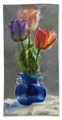 Cobalt And Tulips Still Life Painting Bath Towel
