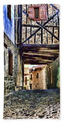 Cobble Streets Of Potes Spain By Diana Sainz Hand Towel