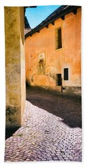 Bath Towel featuring the photograph Cobbled Street by Silvia Ganora