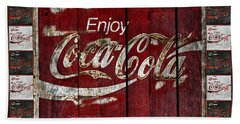 Coca Cola Sign With Little Cokes Border Bath Towel