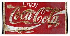 Coca Cola Vintage Rusty Sign Bath Towel