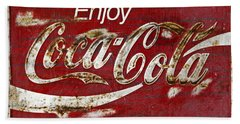 Coca Cola Wood Grunge Sign Hand Towel