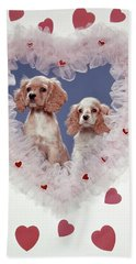 Cocker Spaniels Love Hearts Couple Bath Towel