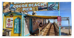 Cocoa Beach Pier In Florida Bath Towel