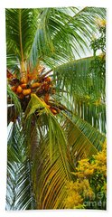 Coconut Palm In Tropical Garden Hand Towel