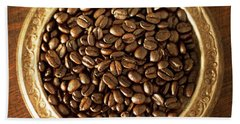 Coffee Beans On Antique Silver Platter Hand Towel