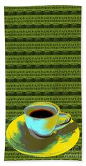 Hand Towel featuring the digital art Coffee Cup Pop Art by Jean luc Comperat