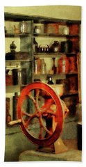 Bath Towel featuring the photograph Coffee Grinder And Canister Of Sugar by Susan Savad