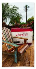 Hand Towel featuring the photograph Vintage Coke Machine With Adirondack Chair by Jerry Cowart
