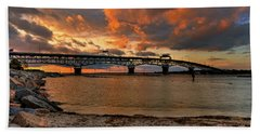 Coleman Bridge At Sunset Hand Towel by Jerry Gammon