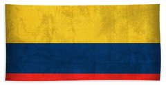 Colombia Flag Vintage Distressed Finish Hand Towel