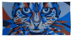 Hand Towel featuring the painting Color Cat IIi by Pamela Clements