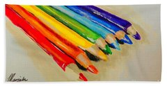 Color Pencils Bath Towel