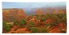 Colorado Natl Monument Snow Coming Down The Canyon Hand Towel