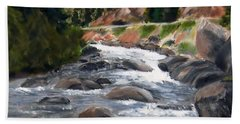 Hand Towel featuring the painting Colorado Rapids by Jamie Frier