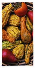 Colorful Autumn Gourds Bath Towel