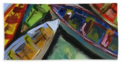 Colorful Boats Hand Towel