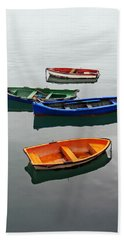 colorful boats on Santurtzi Bath Towel