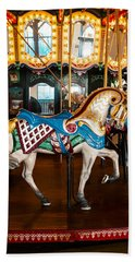 Bath Towel featuring the photograph Colorful Carousel Horse by Jerry Cowart