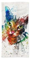 Colorful Cat Art By Sharon Cummings Hand Towel