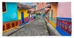 Colorful Cobblestone Street Hand Towel