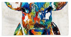 Colorful Cow Art - Mootown - By Sharon Cummings Hand Towel