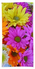 Hand Towel featuring the photograph Colorful Daisies by Sami Martin
