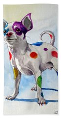 Colorful Dalmatian Chihuahua Hand Towel