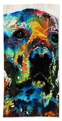 Colorful Dog Art - Heart And Soul - By Sharon Cummings Hand Towel