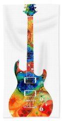 Colorful Electric Guitar 2 - Abstract Art By Sharon Cummings Hand Towel