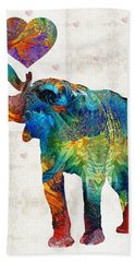 Colorful Elephant Art - Elovephant - By Sharon Cummings Hand Towel