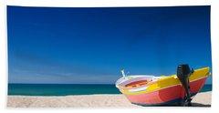 Colorful Fishing Boat Algarve Portugal Hand Towel